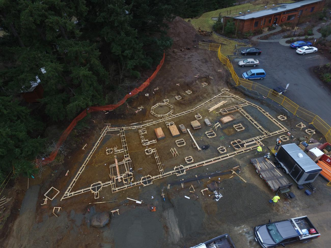 Aerial look at the building footprint